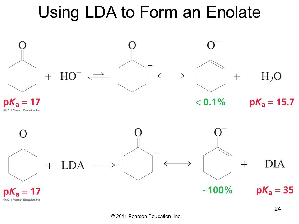 © 2011 Pearson Education, Inc. 24 Using LDA to Form an Enolate