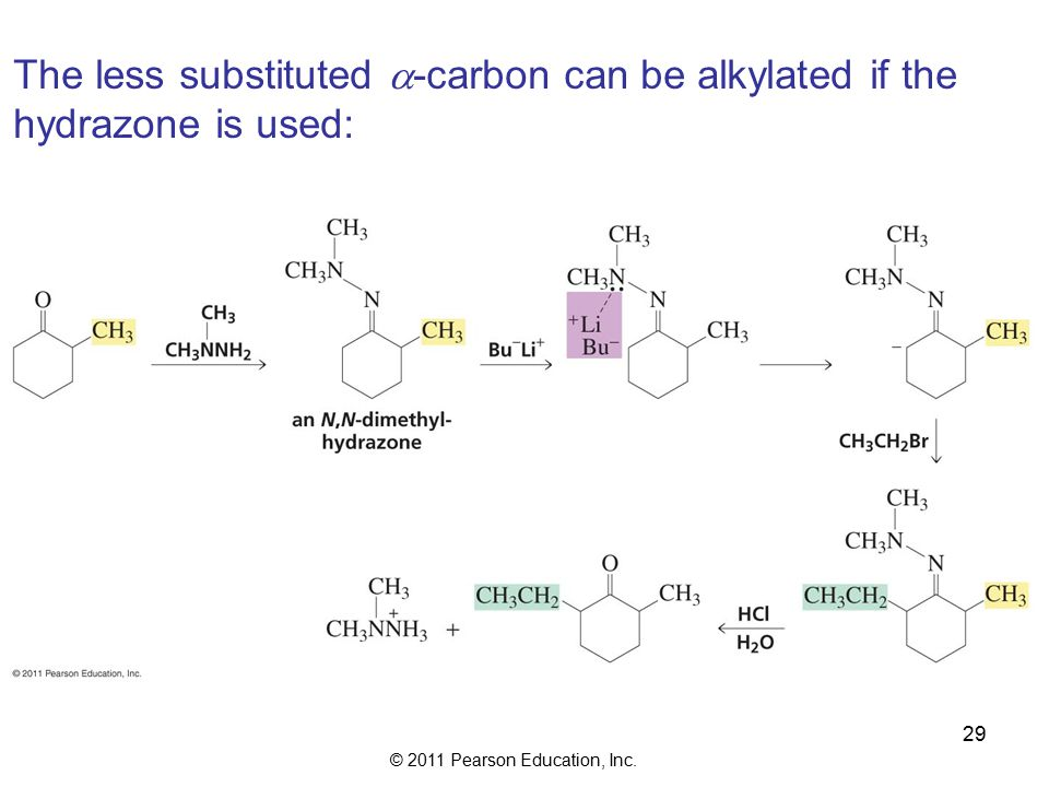 © 2011 Pearson Education, Inc. 29 The less substituted  -carbon can be alkylated if the hydrazone is used: