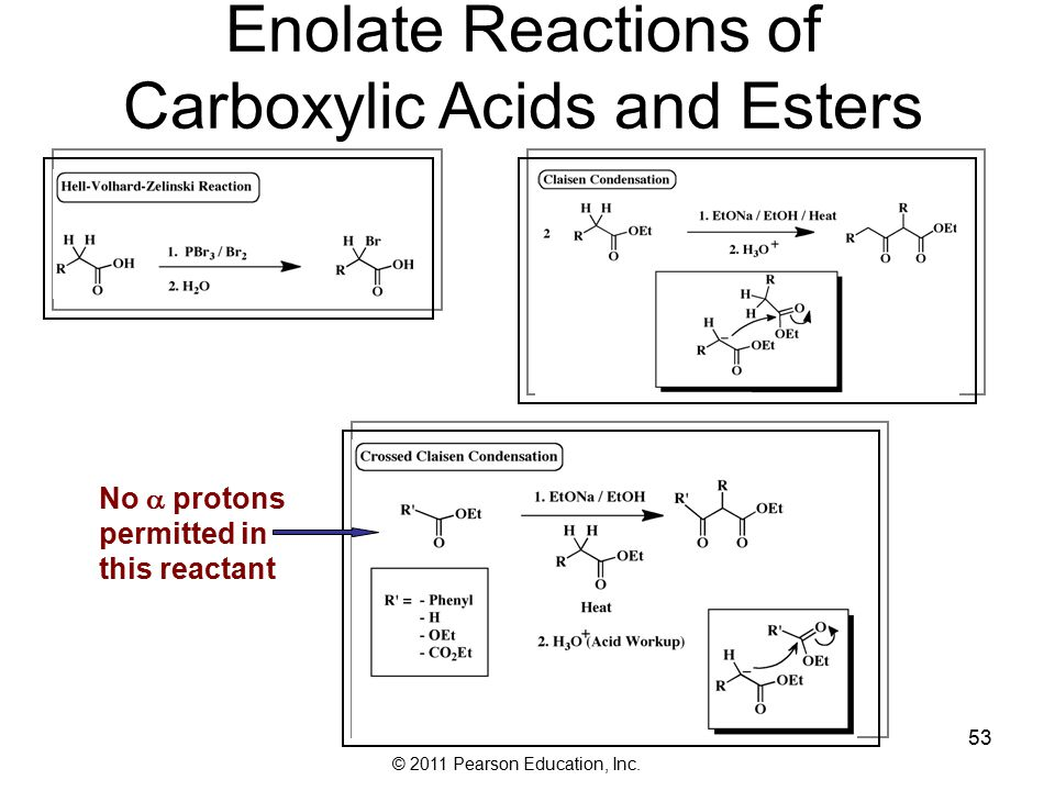 © 2011 Pearson Education, Inc. Enolate Reactions of Carboxylic Acids and Esters No  protons permitted in this reactant 53
