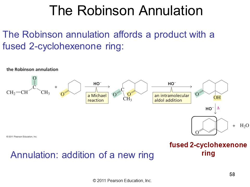 © 2011 Pearson Education, Inc. 58 The Robinson Annulation The Robinson annulation affords a product with a fused 2-cyclohexenone ring: Annulation: add
