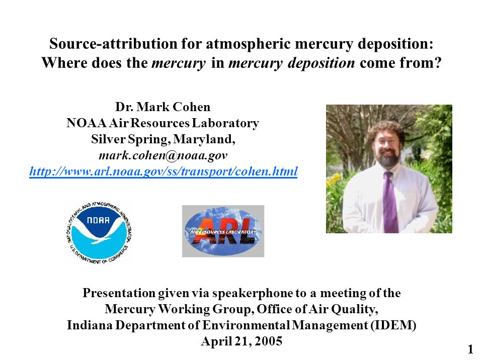 1 Source-attribution for atmospheric mercury deposition: Where does the mercury in mercury deposition come from.