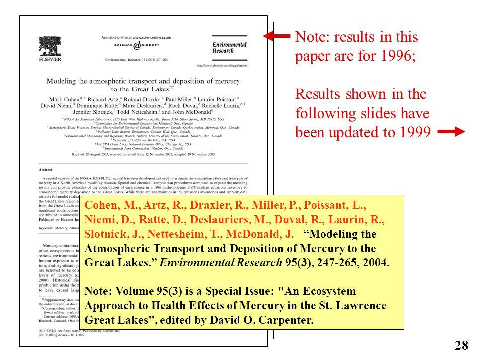 28 Cohen, M., Artz, R., Draxler, R., Miller, P., Poissant, L., Niemi, D., Ratte, D., Deslauriers, M., Duval, R., Laurin, R., Slotnick, J., Nettesheim, T., McDonald, J.