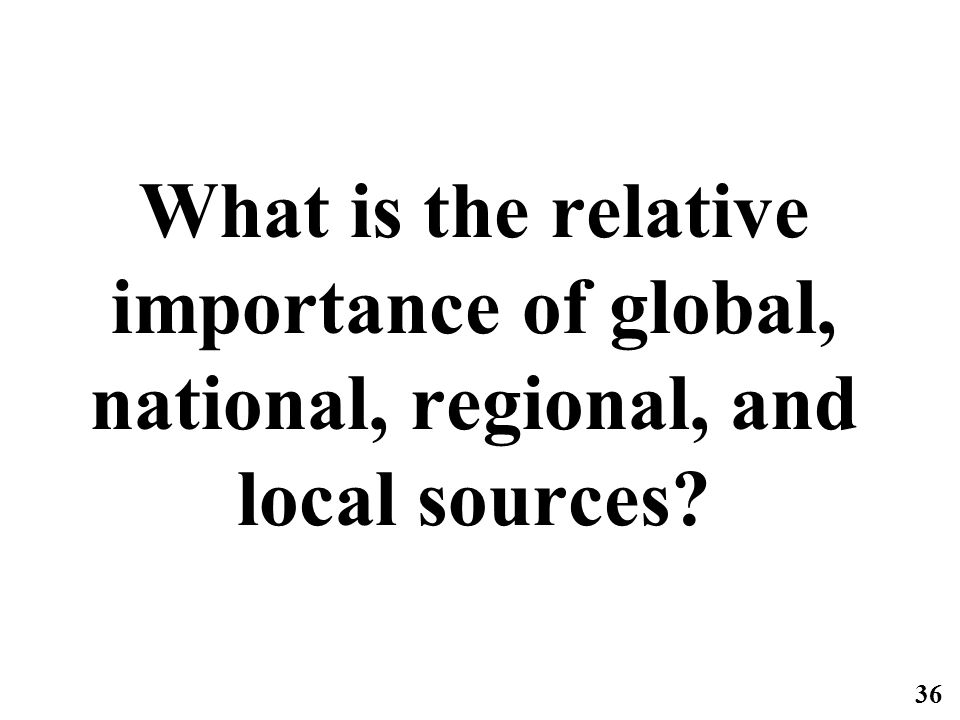 36 What is the relative importance of global, national, regional, and local sources?