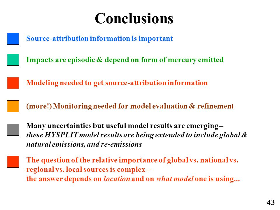 43 Conclusions Impacts are episodic & depend on form of mercury emitted Source-attribution information is important Modeling needed to get source-attribution information (more!) Monitoring needed for model evaluation & refinement Many uncertainties but useful model results are emerging – these HYSPLIT model results are being extended to include global & natural emissions, and re-emissions The question of the relative importance of global vs.