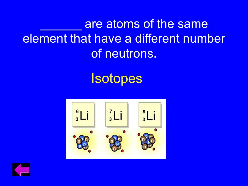 ______ are atoms of the same element that have a different number of neutrons. Isotopes
