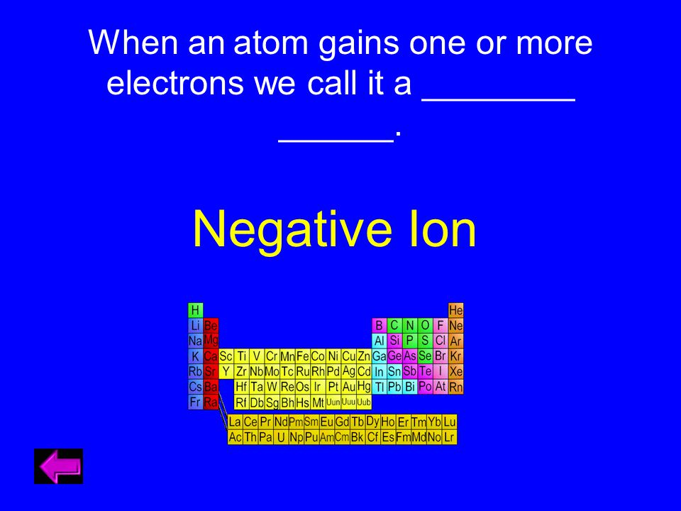 When an atom gains one or more electrons we call it a ________ ______. Negative Ion