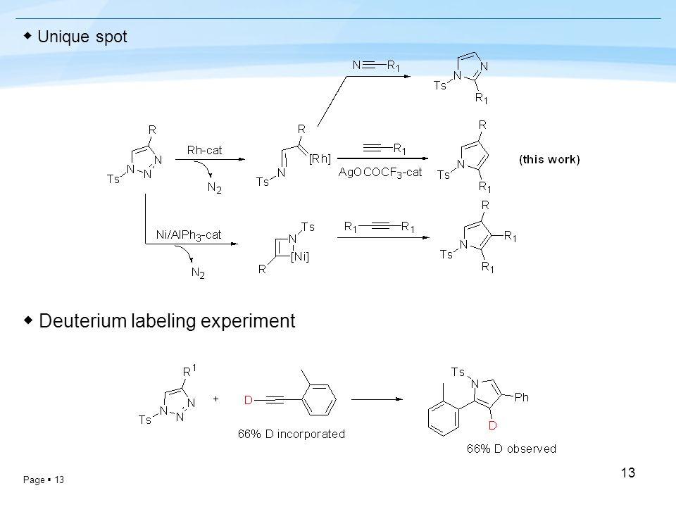 Page  13 13 ◆ Unique spot ◆ Deuterium labeling experiment