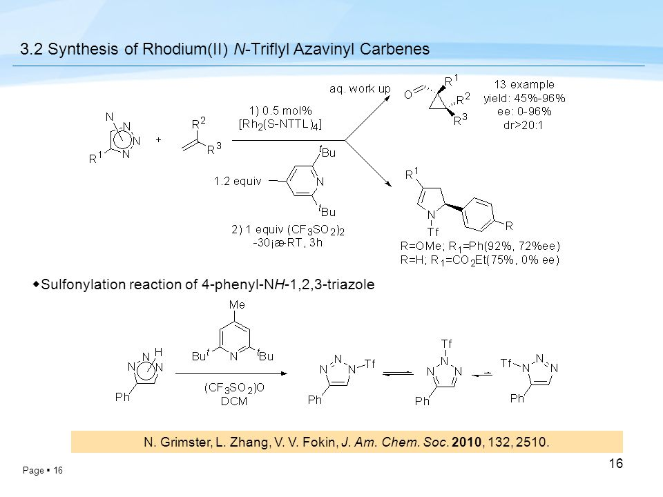 Page  16 16 3.2 Synthesis of Rhodium(II) N-Triflyl Azavinyl Carbenes ◆ Sulfonylation reaction of 4-phenyl-NH-1,2,3-triazole N. Grimster, L. Zhang, V.