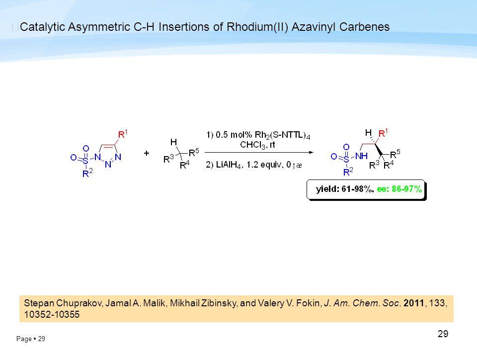 Page  29 29 ◆ Catalytic Asymmetric C-H Insertions of Rhodium(II) Azavinyl Carbenes Stepan Chuprakov, Jamal A. Malik, Mikhail Zibinsky, and Valery V.