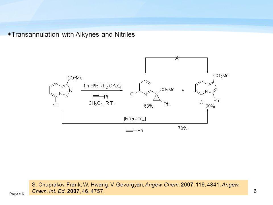 Page  6 6 S. Chuprakov, Frank, W. Hwang, V. Gevorgyan, Angew. Chem. 2007, 119, 4841; Angew. Chem. Int. Ed. 2007, 46, 4757. ◆ Transannulation with Alk