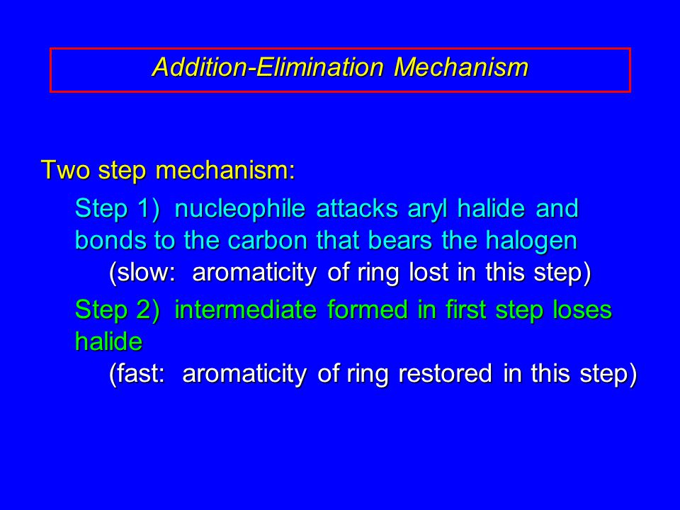 Two step mechanism: Step 1) nucleophile attacks aryl halide and bonds to the carbon that bears the halogen (slow: aromaticity of ring lost in this step) Step 2) intermediate formed in first step loses halide (fast: aromaticity of ring restored in this step) Addition-Elimination Mechanism