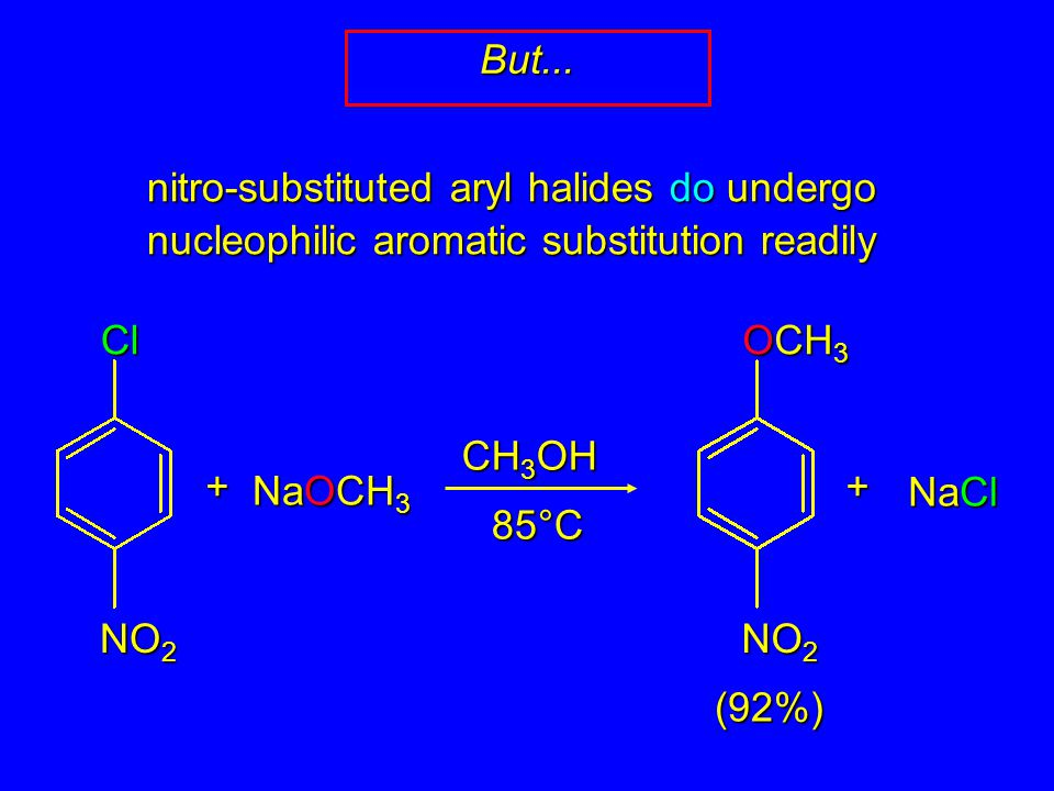 nitro-substituted aryl halides do undergo nucleophilic aromatic substitution readily But...Cl NO 2 + NaOCH 3 CH 3 OH 85°C OCH 3 NO 2 + NaCl (92%)
