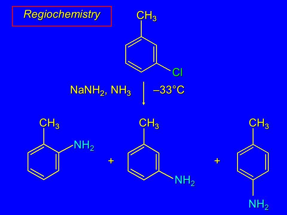 Regiochemistry + NaNH 2, NH 3 –33°C CH 3 NH 2 CH 3 NH 2 CH 3 Cl + NH 2
