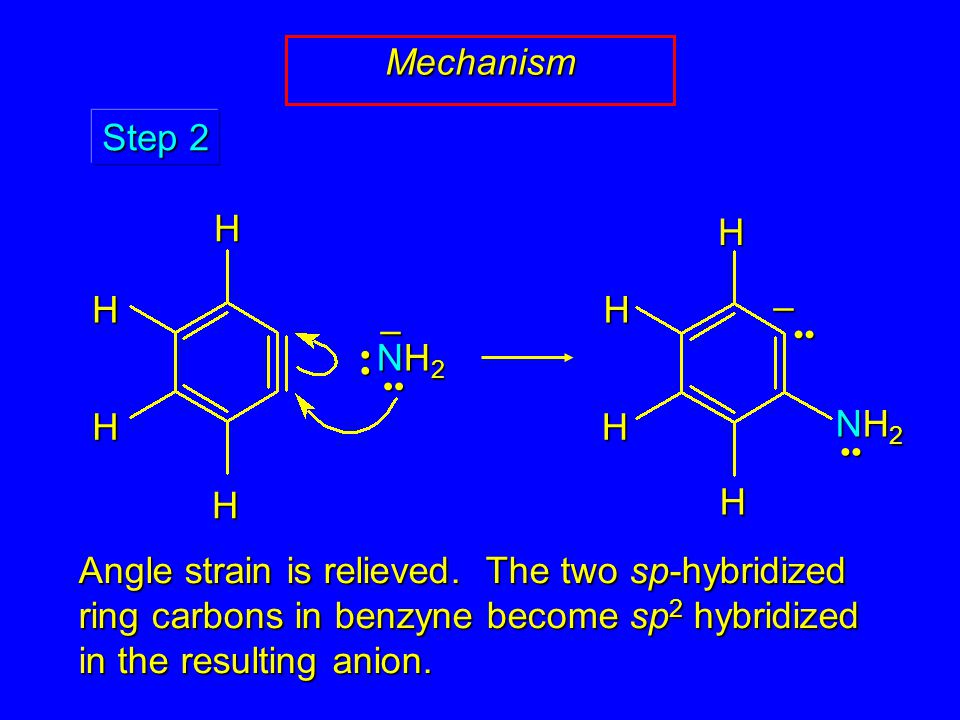 Mechanism NH2NH2NH2NH2 – Step 2 HHH H HHH H NH2NH2NH2NH2 – Angle strain is relieved.