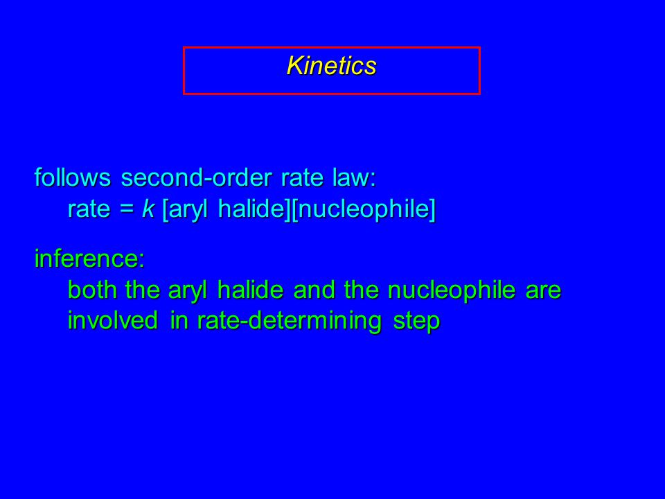 follows second-order rate law: rate = k [aryl halide][nucleophile] inference: both the aryl halide and the nucleophile are involved in rate-determining step Kinetics