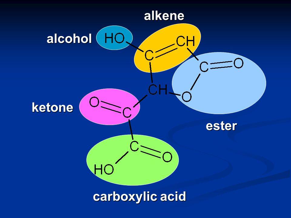 CH 3 CH 2 CH 2 C OH aldehyde butanal CH 3 CH 2 CCH 2 CH 3 Oketone pentan-3-one carboxylic acid 3-methylbutanoic acid CH 3 CHCH 2 C O OH CH 3