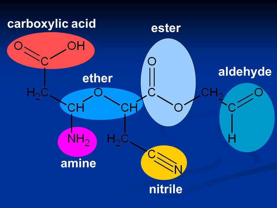 alcohol alkene carboxylic acid ketone ester