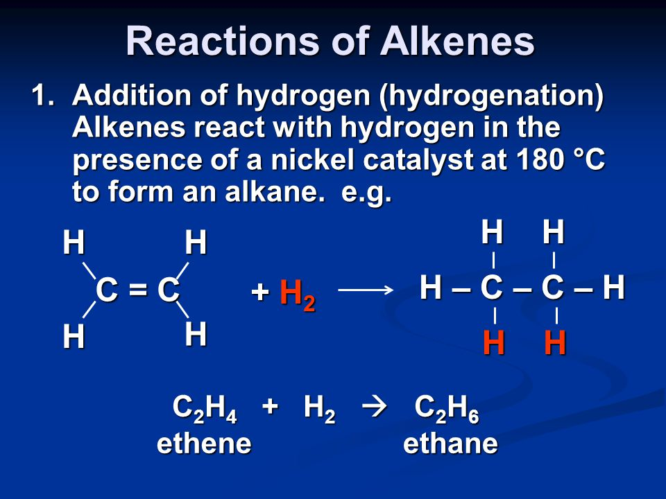 When naming alkenes have to include position of double bond, for example: CH 3 CH=CHCH 3 is but - 2 - ene and CH 3 CH 2 CH=CH 2 is but -1- ene Draw out and name all of the alkenes with the molecular formula C 6 H 12.