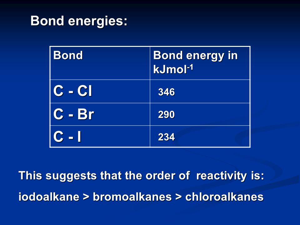 C Cl ++++ ---- C I ++++ ---- ORDER OF BOND POLARITIES: C Br ++++ ---- >> So is order of reactivity: chloroalkane > bromoalkanes > iodoalkanes.