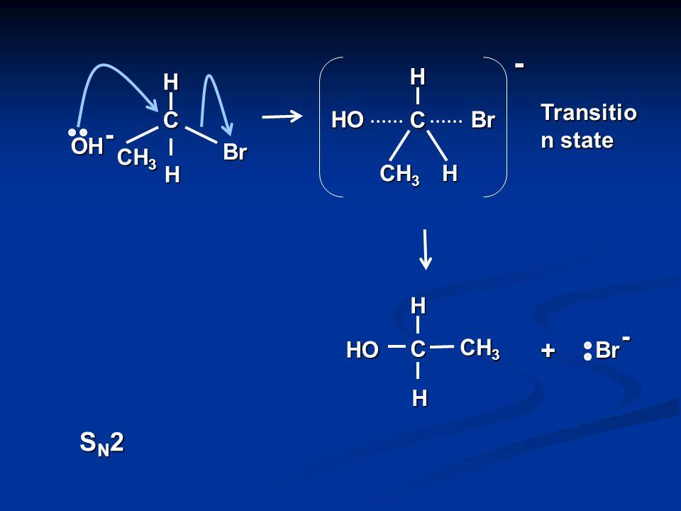 - OH CH 3 H OH C H Br - CH 3 H Br C H C CH 3 H H + + C H H + slow fast SN1SN1 Intermediate carbocation Heterolytic fission of C – Br bond