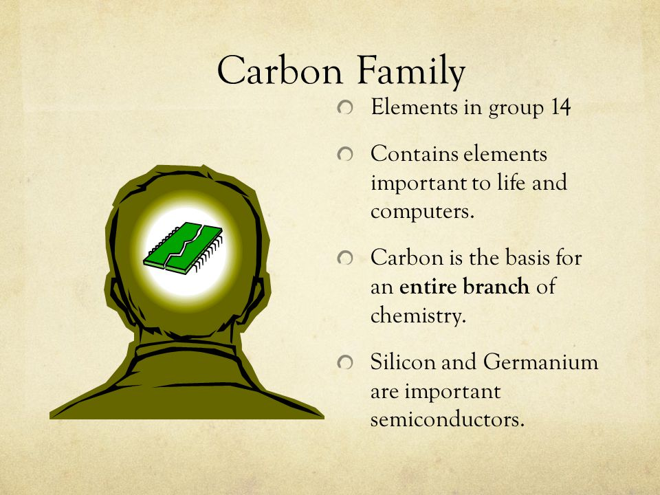 Carbon Family Elements in group 14 Contains elements important to life and computers. Carbon is the basis for an entire branch of chemistry. Silicon a