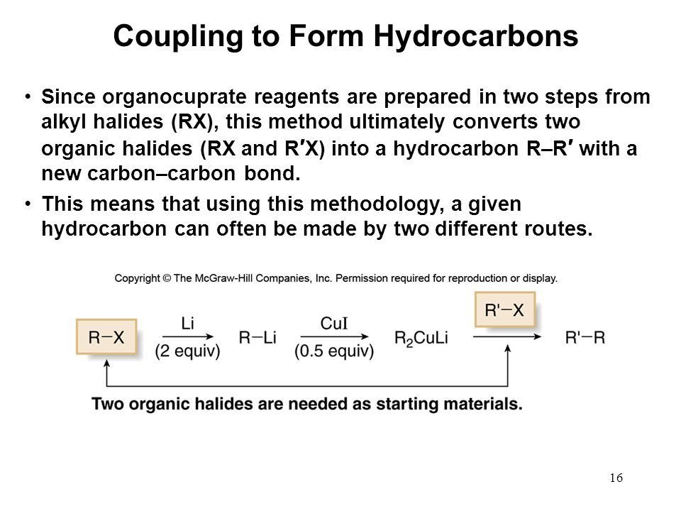 16 Since organocuprate reagents are prepared in two steps from alkyl halides (RX), this method ultimately converts two organic halides (RX and R ′ X)