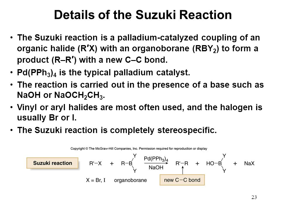 23 The Suzuki reaction is a palladium-catalyzed coupling of an organic halide (R ′ X) with an organoborane (RBY 2 ) to form a product (R–R ′ ) with a