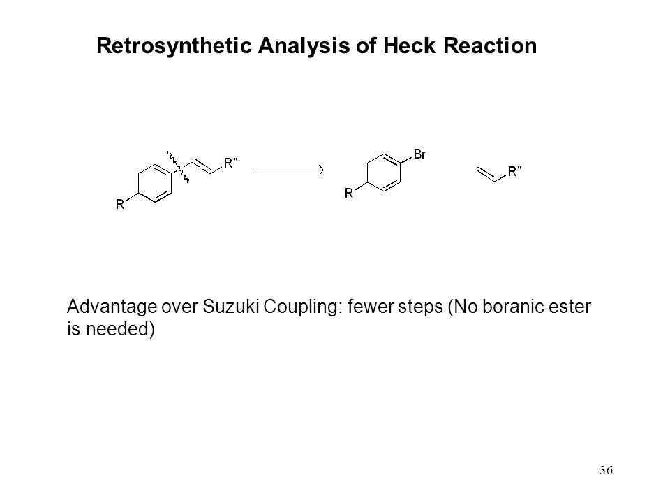 36 Retrosynthetic Analysis of Heck Reaction Advantage over Suzuki Coupling: fewer steps (No boranic ester is needed)