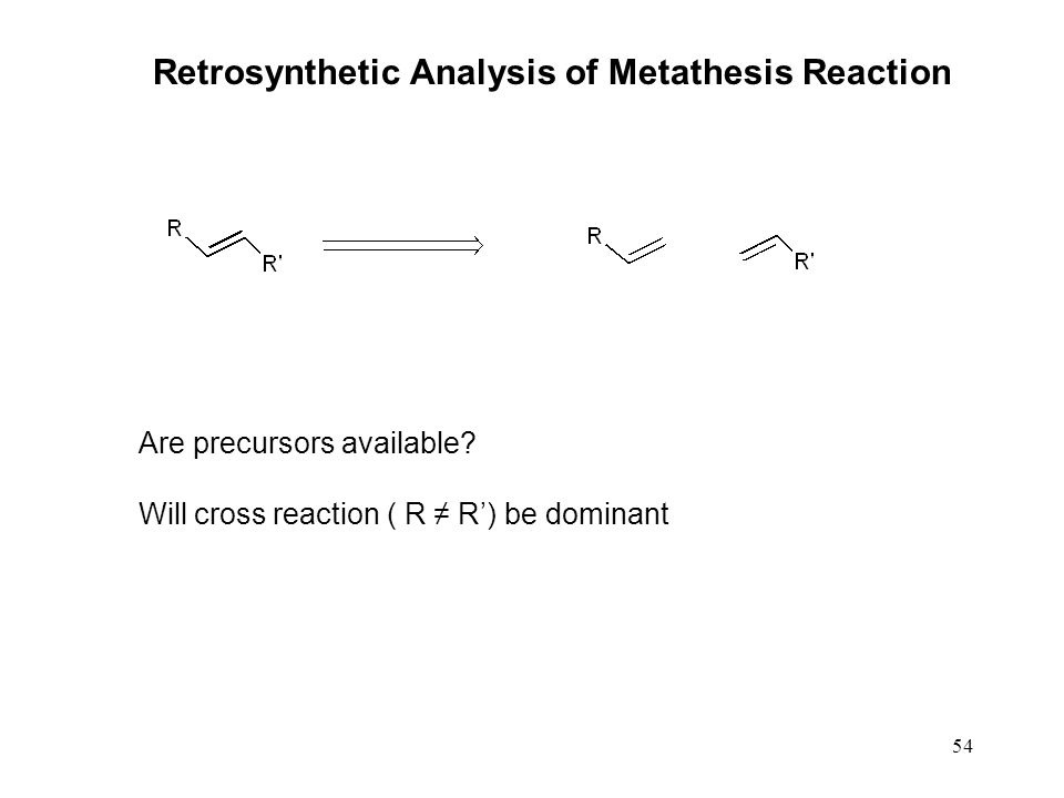 54 Retrosynthetic Analysis of Metathesis Reaction Are precursors available? Will cross reaction ( R ≠ R') be dominant