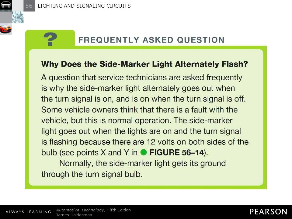 56 LIGHTING AND SIGNALING CIRCUITS Automotive Technology, Fifth Edition James Halderman © 2011 Pearson Education, Inc. All Rights Reserved FREQUENTLY