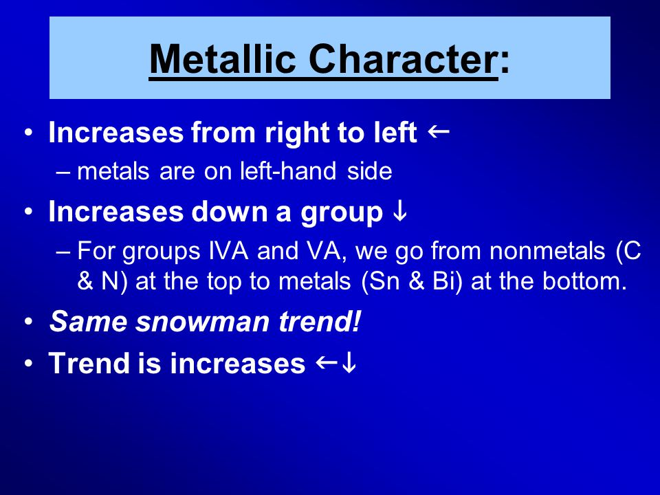 Metallic Character: Increases from right to left  –metals are on left-hand side Increases down a group  –For groups IVA and VA, we go from nonmetals