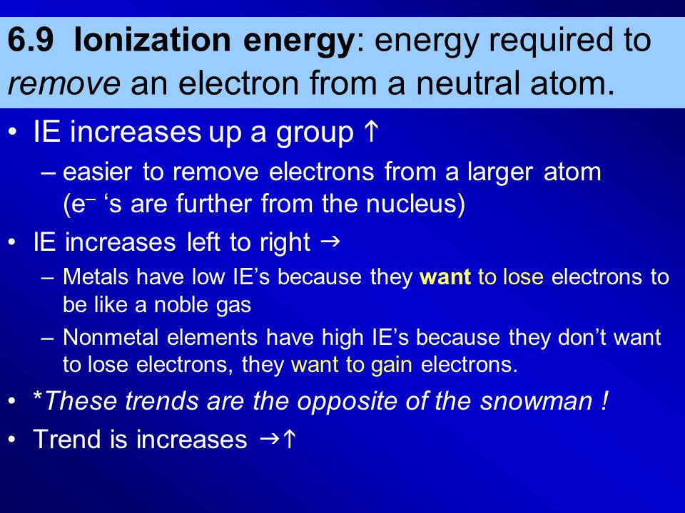 6.9 Ionization energy: energy required to remove an electron from a neutral atom. IE increases up a group  –easier to remove electrons from a larger
