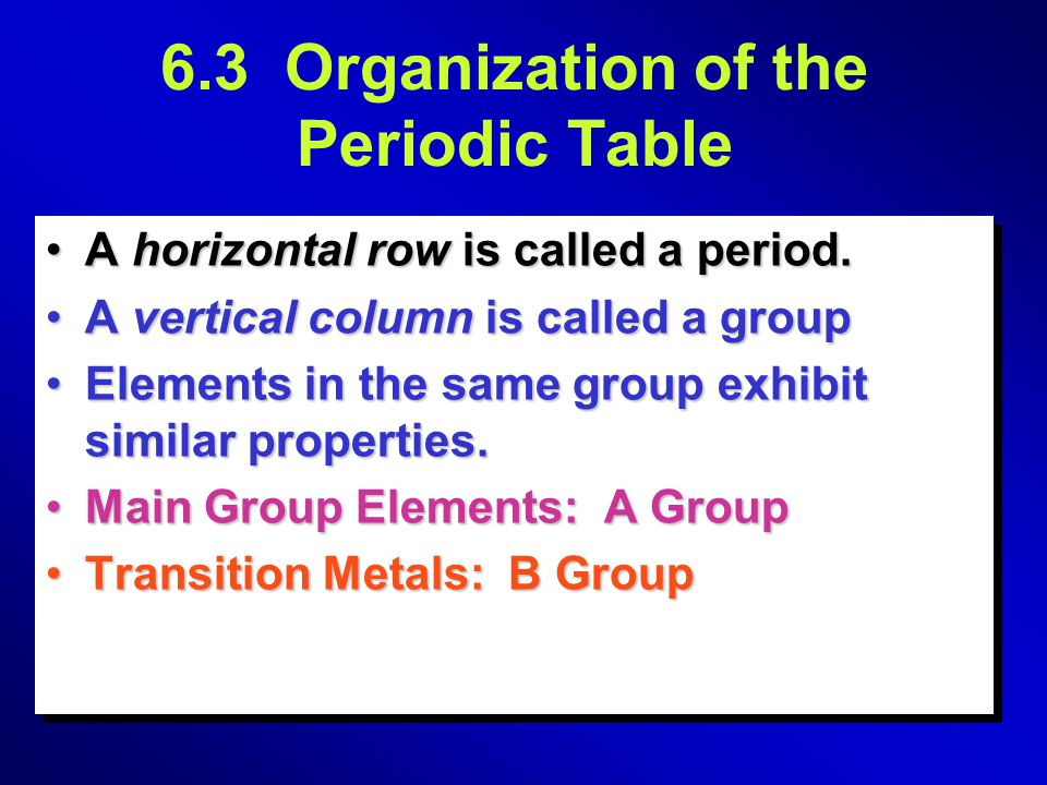 6.5 PROPERTIES OF ELEMENTS Elements in the same group typically have similar chemical behavior and physical properties For example, Na reacts with Cl 2 to form NaCl and K reacts with Cl 2 to form KCl.