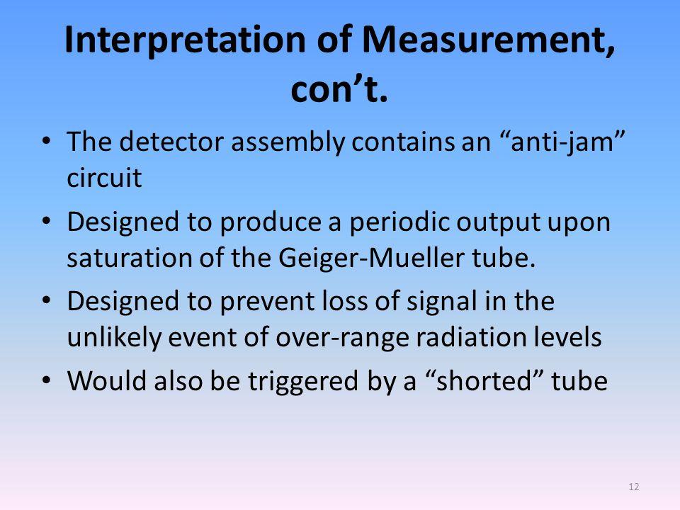 Interpretation of Measurement, con't.