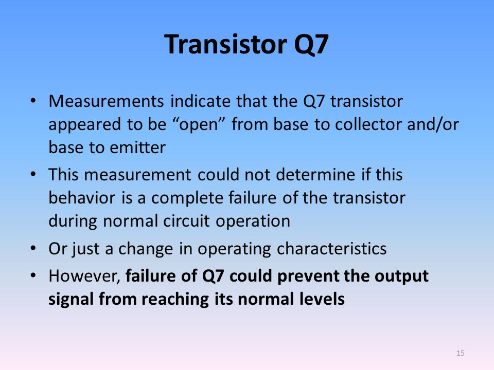 Transistor Q7 Measurements indicate that the Q7 transistor appeared to be open from base to collector and/or base to emitter This measurement could not determine if this behavior is a complete failure of the transistor during normal circuit operation Or just a change in operating characteristics However, failure of Q7 could prevent the output signal from reaching its normal levels 15