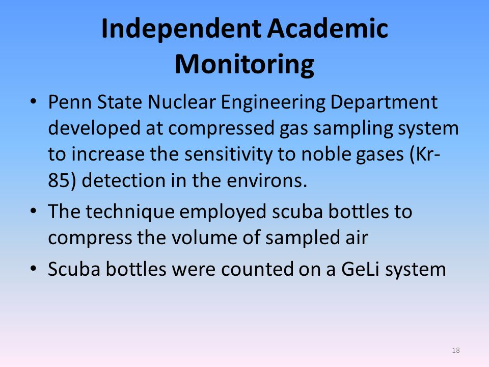 Independent Academic Monitoring Penn State Nuclear Engineering Department developed at compressed gas sampling system to increase the sensitivity to noble gases (Kr- 85) detection in the environs.