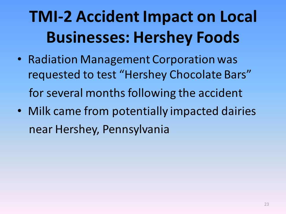TMI-2 Accident Impact on Local Businesses: Hershey Foods Radiation Management Corporation was requested to test Hershey Chocolate Bars for several months following the accident Milk came from potentially impacted dairies near Hershey, Pennsylvania 23