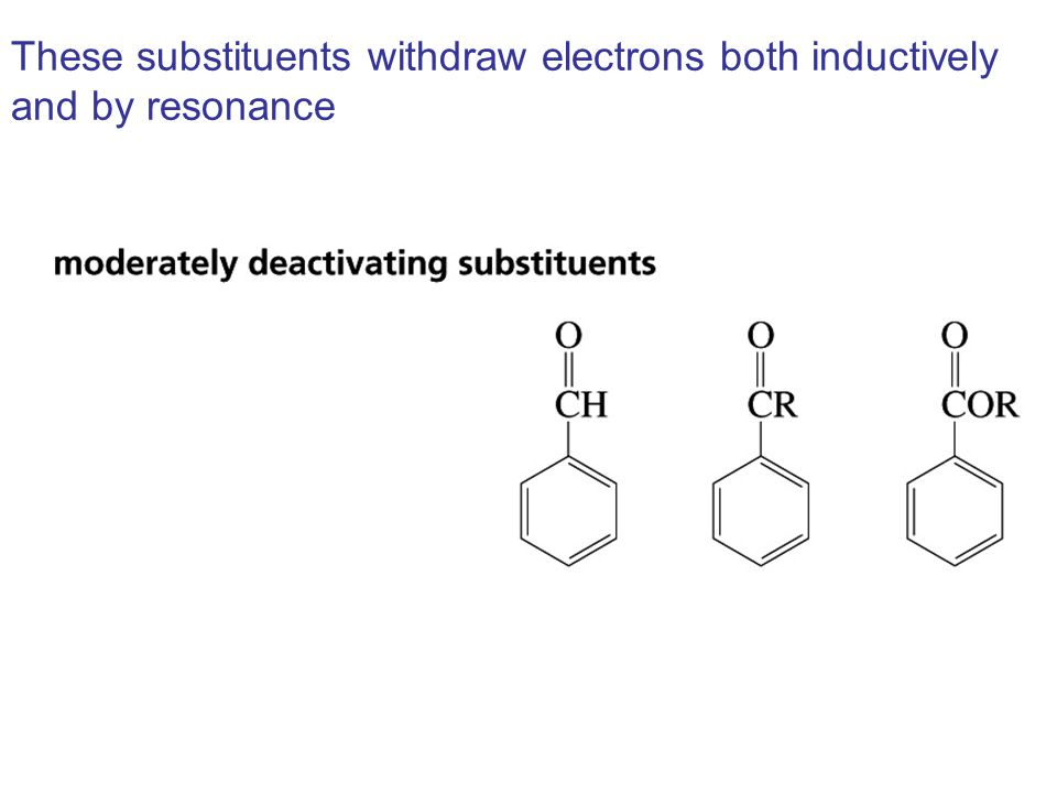 These substituents withdraw electrons both inductively and by resonance