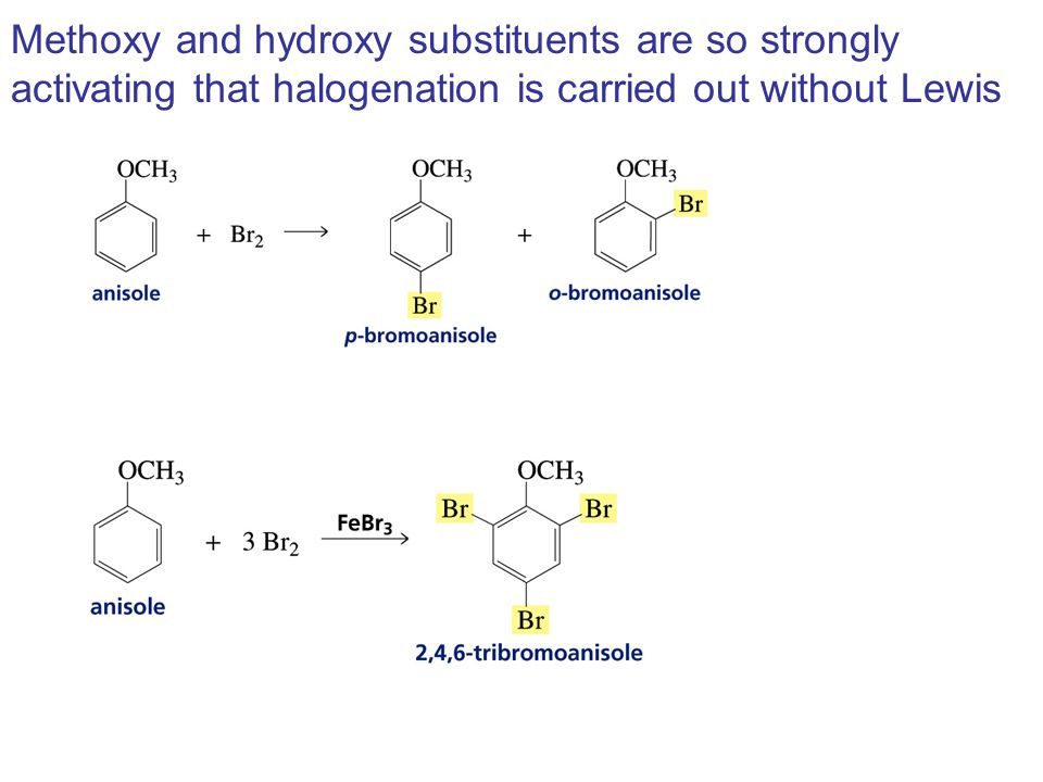 Methoxy and hydroxy substituents are so strongly activating that halogenation is carried out without Lewis