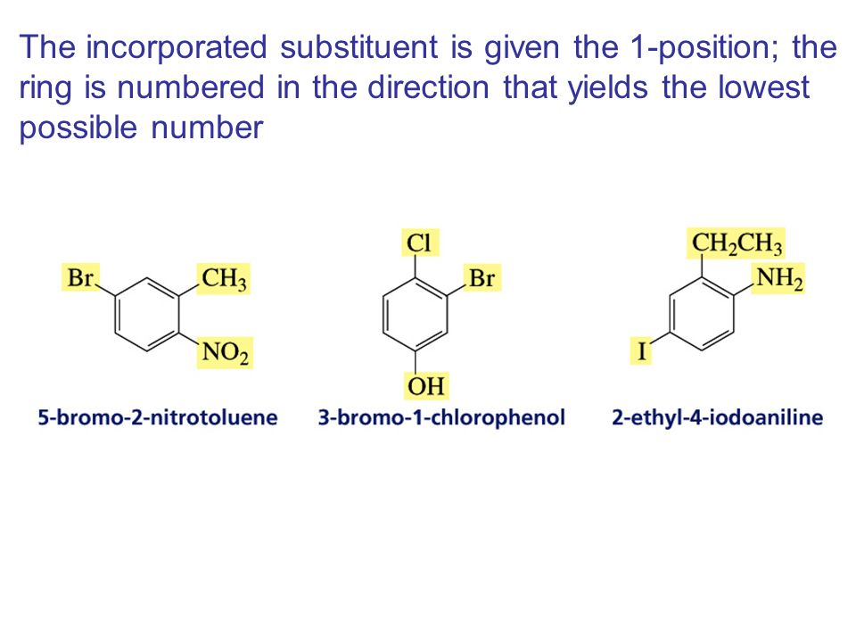 The incorporated substituent is given the 1-position; the ring is numbered in the direction that yields the lowest possible number