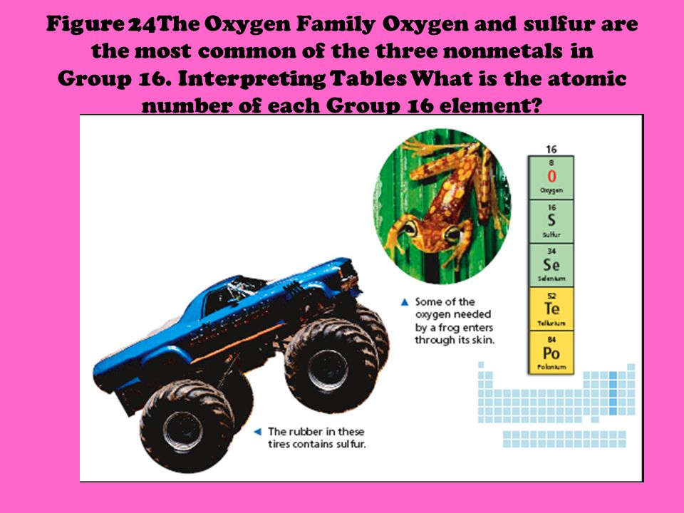 Figure 24The Oxygen Family Oxygen and sulfur are the most common of the three nonmetals in Group 16.