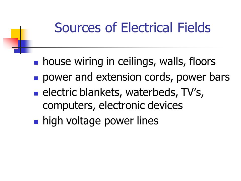 AC Magnetic Fields produced by flow of electrical current travel through equipment and wiring the more powerful the device, the higher the field field remains close to source – (2-3 ft) can travel several hundred feet (high voltage power lines)