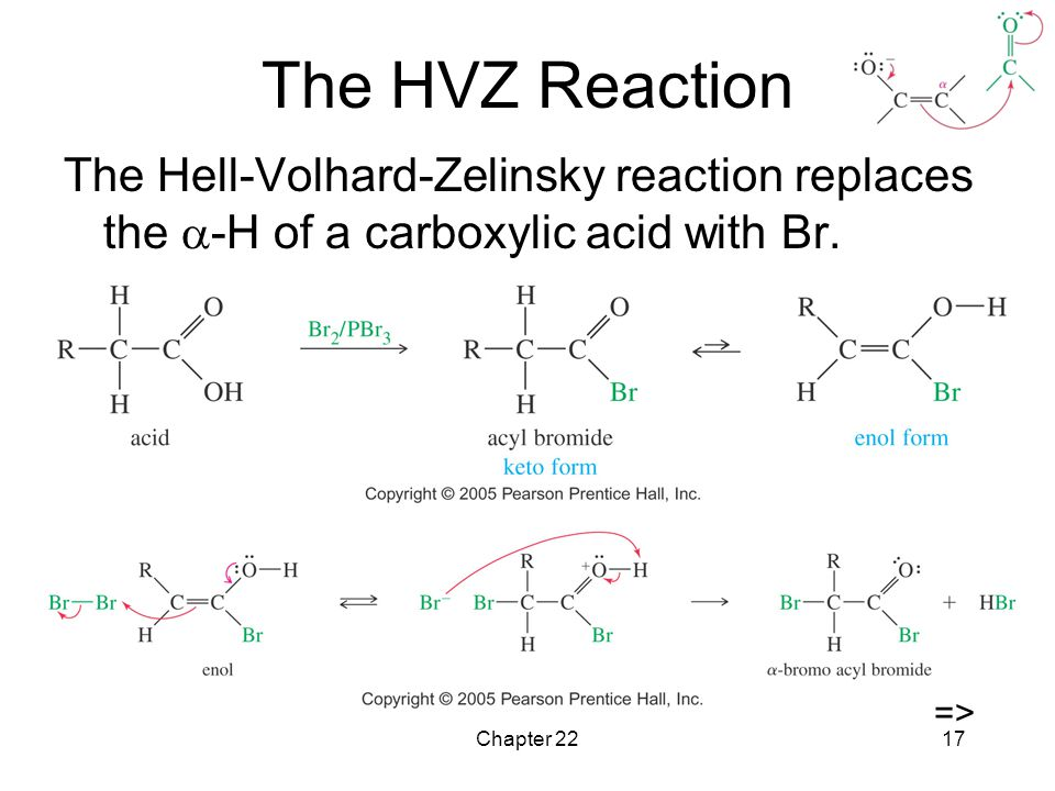 Chapter 2217 The HVZ Reaction The Hell-Volhard-Zelinsky reaction replaces the  -H of a carboxylic acid with Br.