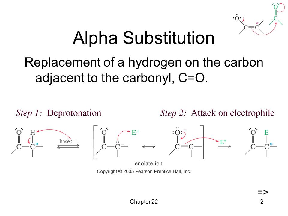 Chapter 222 Alpha Substitution Replacement of a hydrogen on the carbon adjacent to the carbonyl, C=O.