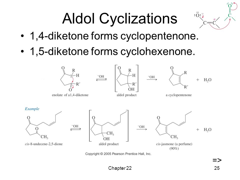 Chapter 2225 Aldol Cyclizations 1,4-diketone forms cyclopentenone.