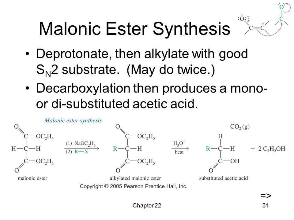 Chapter 2231 Malonic Ester Synthesis Deprotonate, then alkylate with good S N 2 substrate.