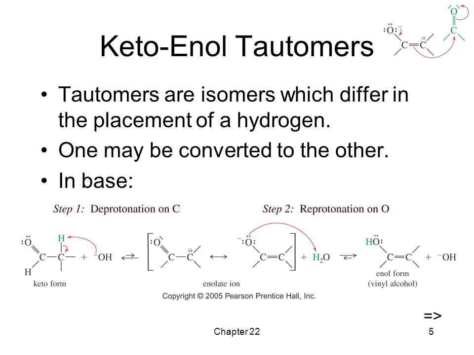 Chapter 225 Keto-Enol Tautomers Tautomers are isomers which differ in the placement of a hydrogen.