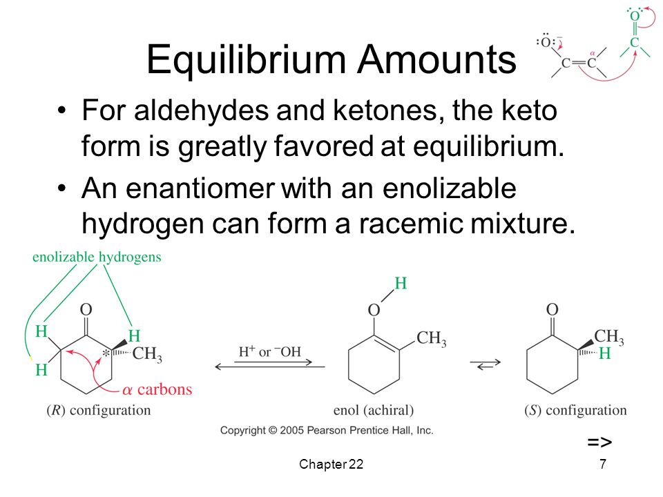 Chapter 227 Equilibrium Amounts For aldehydes and ketones, the keto form is greatly favored at equilibrium.