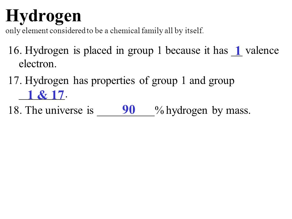 Hydrogen only element considered to be a chemical family all by itself.