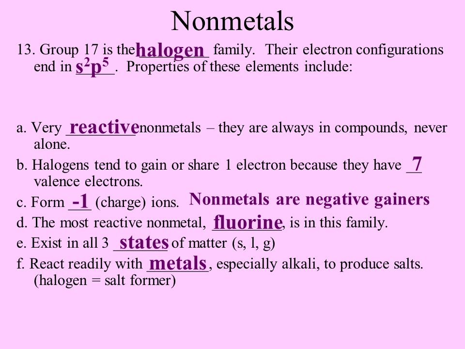 Nonmetals 13. Group 17 is the _________ family. Their electron configurations end in _____.